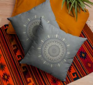 Gray Mandala Throw Pillow
