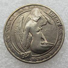 1937 Buffalo Head Hobo Nickel NICKED GIRL ART PRESSED