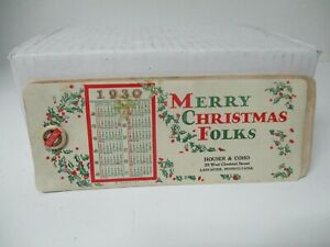 Very Old Christmas Celluloid Ink Blotter - Lancaster PA - Anthracite Coal