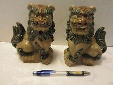 "Asian SET Foo dogs 2 ceramic figurine incense burner Guardian Sam's Brown 6""T"