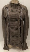 FREE PEOPLE Cuddle Bear Cozy Admirals Sweater Cardigan Knit Jacket Brown Small