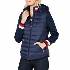 TOMMY HILFIGER Womens Navy Knit-sleeve Hoody Zip-up...