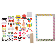 36pcs DIY Photo Booth Props On A Stick +Stripe Selfie Frame Photo Booth Prop