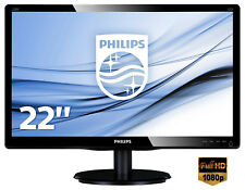 MONITOR PC 22 POLLICI PHILIPS FULL HD LED MONITOR HD VGA DESKTOP WIDESCREEN 16:9