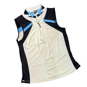 JAMIE SADOCK Womens 1/4 Zip Sleeveless Golf Tank Size XS Ivory Black Blue