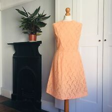 Vintage 60s Pastel Orange Peach Floral Lace Fitted Sleeveless Dress 10