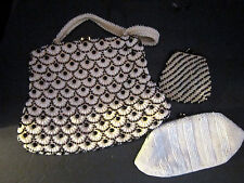 Vintage Purse Lot. Black & White Plastic Beaded Bag & Change. Glass Bead Clutch