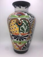 "Mexican Ceramic Talavera Vase 13.5"" Flower Urn Planter Handmade Folk Art Pottery"