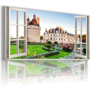 W408 FRANCE 3D Window View Canvas Wall Art Picture Large SIZE UNFRAMED