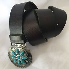 AMERICAN EAGLE OUTFITTERS-brown Leather BELT Turquoise Stone Concho Buckle S-P