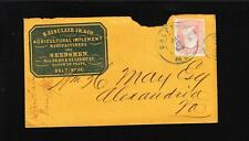 Baltimore Sinclair Farm Implement Seedsmen 1860s WH May Alexandria Virginia z82