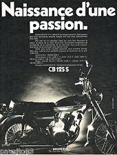PUBLICITE ADVERTISING 085  1971  HONDA  moto CB 125  S