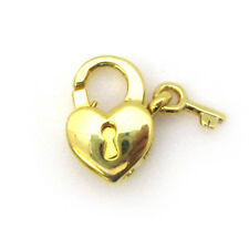 Gold Plated Sterling Silver Heart Lobster Clasp - Heart with Lock and Key Clasp