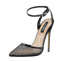 Onlymaker Women's Ankle Strap Mesh Clear Pointed Toe Slingback Stilettos Sandals