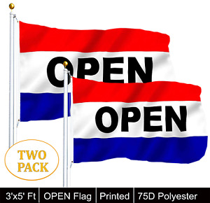 G128® TWO PACK of OPEN Flag Red White Blue Store Banner Advertising Pennant
