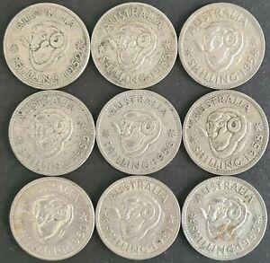 Australian Shilling Lot Various Dates