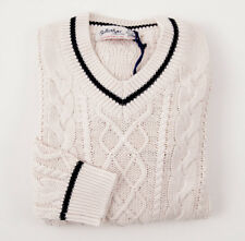 NWT $750 BALLANTYNE Cable Knit Cotton-Cashmere Fisherman's Sweater M (Eu 48)