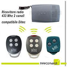 Ricevitore radio ricevente 2 canali 433 Mhz compatibile con tutti Ditec 433 Mhz