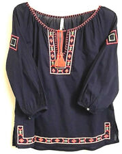 Ethnic Peasant Embroider Cotton Top Blouse  M  Loose Fit 3/4 Sleeves Navy Multi