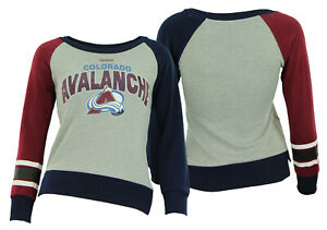 Reebok NHL Youth Girls Colorado Avalanche Amethyst Fleece Crew, Gray