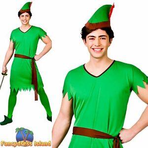 Peter Pan Christmas Elf Robin Hood Tunic Adult Mens Fancy Dress Costume