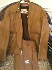 Vintage Schott Cafe Leather Jacket Cycle Rider sz 42 & AMF Harley Pants sz 32