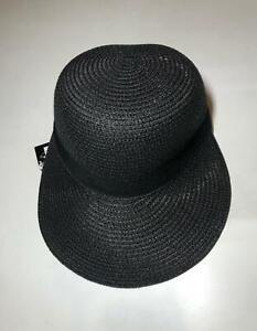 Beach Church Packable Cloche Straw Adjustable Cap Black Women's Hat SPF50