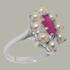 Solid 925 Sterling Silver Natural Ruby & Pearl Womens Cluster Ring