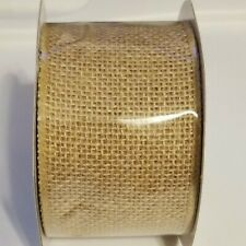 Burlap Wire Edged Ribbon - 2.5 inches wide 5 Yards Natural New in Package
