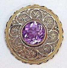 14k Yellow Gold Vintage Filigree Amethyst and Seed Pearl Pendant and Pin