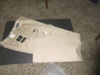 HAGGAR COMFORT WAIST NWT Tan Dress Pant 36-39 X 34 100% Cotton