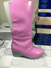 "WOMEN ROCKPORT RAIN BOOT PINK SIZE 10 HYDRO SHIELD WATER PROOF 15"" TALL 3"" HEEL"