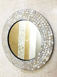 Wall Hanging Mirror Bedroom Mother of Pearl Inlay Frame Decorative Home Decor