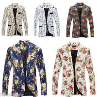 Stylish Men's Slim Fit One Button Formal Casual Floral Suit Blazer Coat Jacket