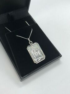 STERLING SILVER 925 RECTANGLE ST CHRISTOPHER NECKLACE PENDANT + CHAIN BOXED