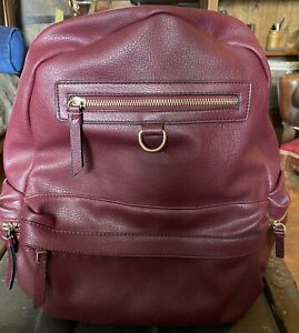 Monsoon Accessorize Faux Leather Burgundy  Backpack - Minimum Use -gold Zips