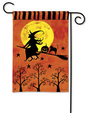 "WITCH RIDING ON BROOM BLACK CAT PUMPKIN HALLOWEEN SMALL BANNER FLAG 12.5""x 18"""