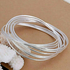 Classic Ten Ring Bangle 925 Sterling Silver NEW