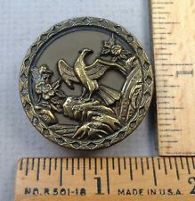 EAGLE SPREADING WINGS Antique Picture BUTTON, Embossed Design, German, LARGE