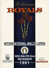 INTERNATIONAL MALTA OPEN 20-22 Nov 1991 DARTS PROGRAMME
