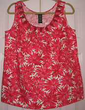 Women's Size M Top by Josephine Chaus - bead trim tank - bright reds,white   NWT