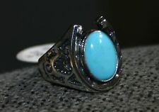 STAINLESS STEEL MENS RING -ROUND TURQUOISE HORSE SHOE & NATIVE DESIGN - 4253GSTU