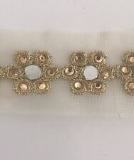 ATTRACTIVE INDIAN GOLD MIRRORS & CRYSTAL FLOWERS ON NET TRIM/LACE -Sold by METRE