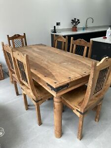 Jali Wooden Dining Table And 6 Chairs