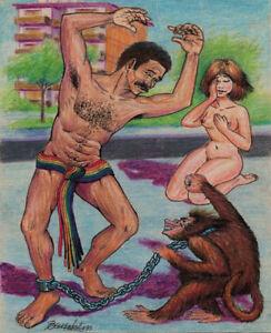 PRESAGIO Original Art Drawing Arte Cuban Santiago Cuba Artist JUAN BARRABEITG