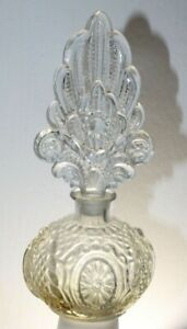 ANTIQUE VINTAGE ART DECO GLASS PERFUME BOTTLE WITH GROUND STOPPER 7 1/4''