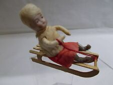 GERMAN - Spun Cotton & Crepe HEUBACH Child (Girl) on Sled ~ MINT ~ #2