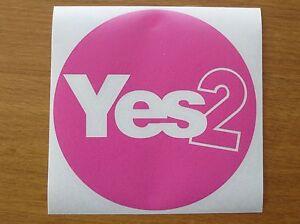 Vote Yes Hot Pink Circle Scottish Independence Vinyl Sticker indyref2 Scotland