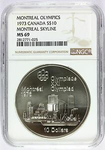 1973 Canada Olympics Montreal Skyline Silver $10 Coin - NGC MS 69 - KM# 87