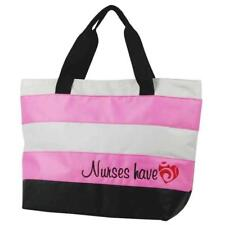 Nurse Tote Bag Pink Embroidered Nurses Have Heart Think Medical 01702